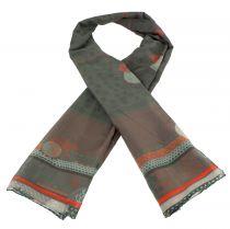 Foulard original en soie marron et rouge thème toji Lili gambettes