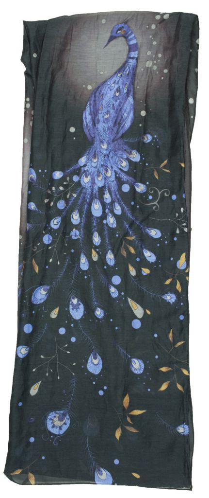 Foulard original et coloré Liligambettes thème paon