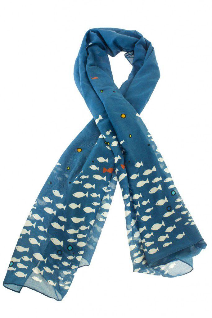 Foulard sardines en soie imprimée Lili gambettes
