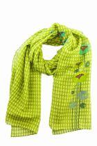 Foulard vert en soie et coton Lili gambettes