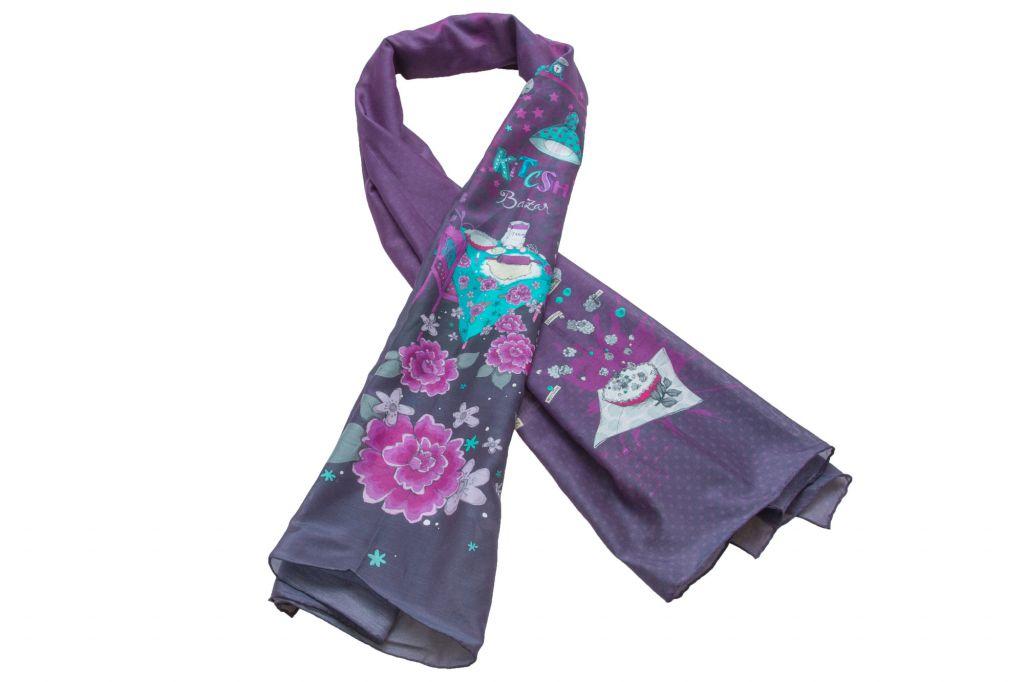 Foulard violet imprimé en soie et coton Lili gambettes