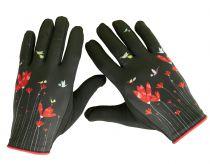 Gants originaux imprimés Liligambettes thème fleurs rouges