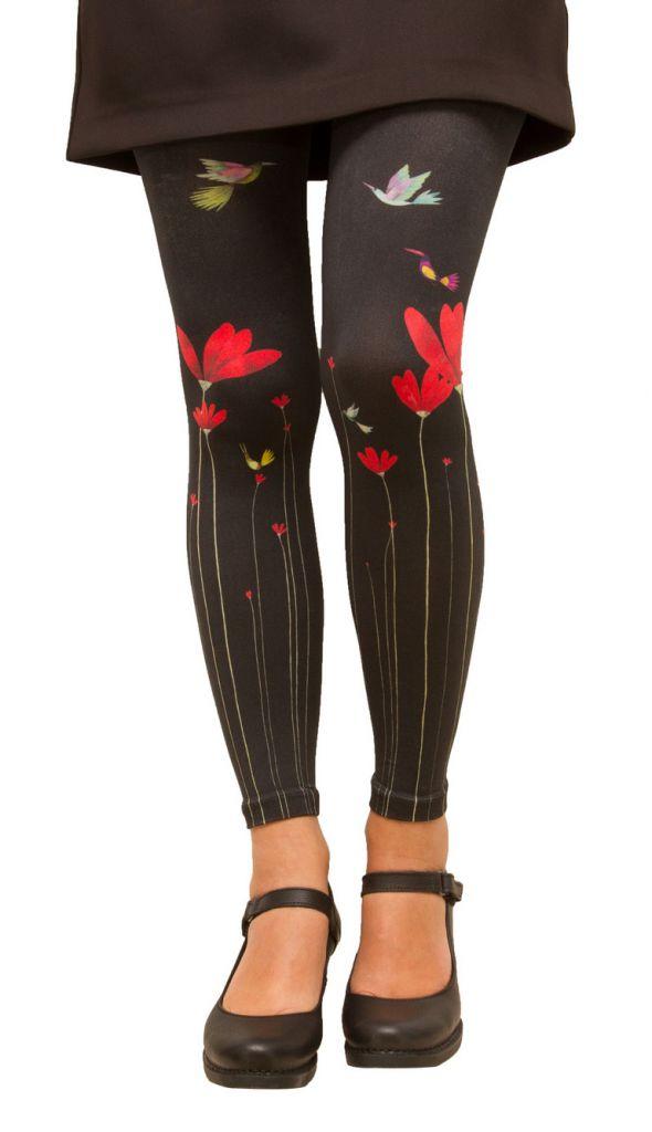 Legging femme noir fleuri Lili gambettes