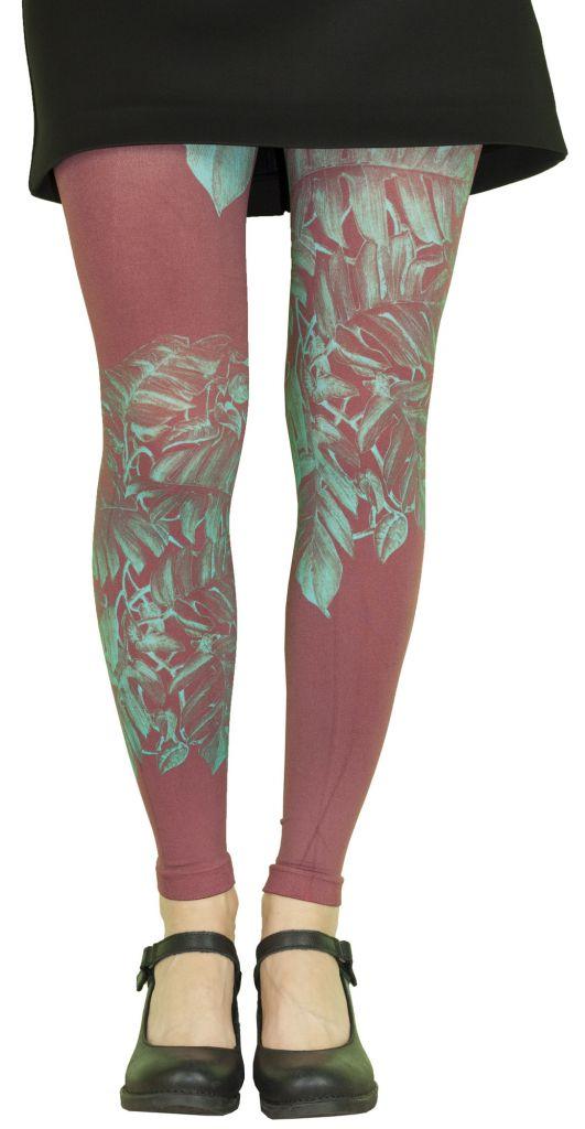 Leggings femme rouges Liligambettes thème végétal