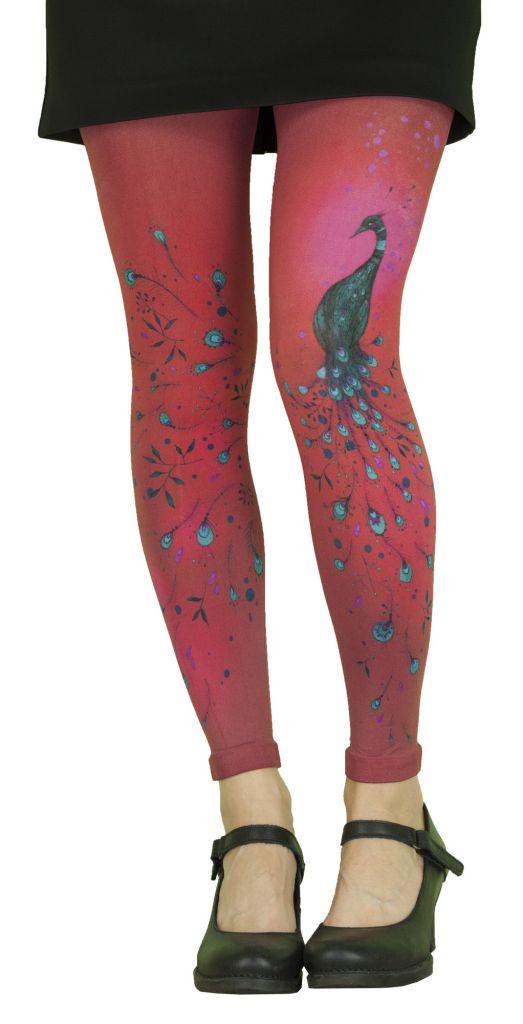 Leggings rouges imprimés Liligambettes thème paon