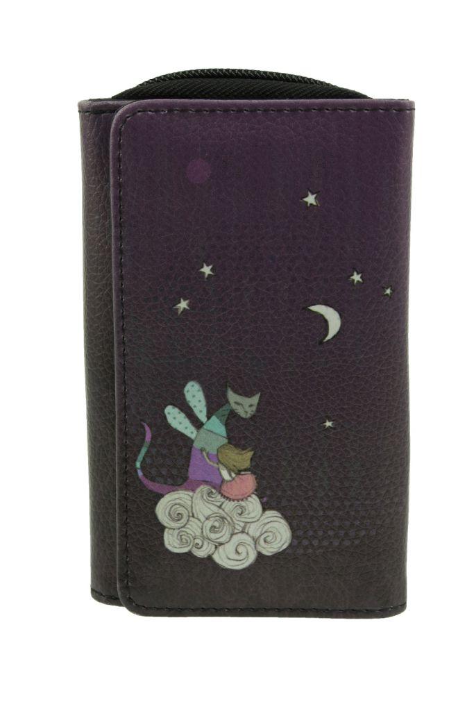 Portefeuille violet fantaisie en cuir vegan monde alanvair Lili gambettes